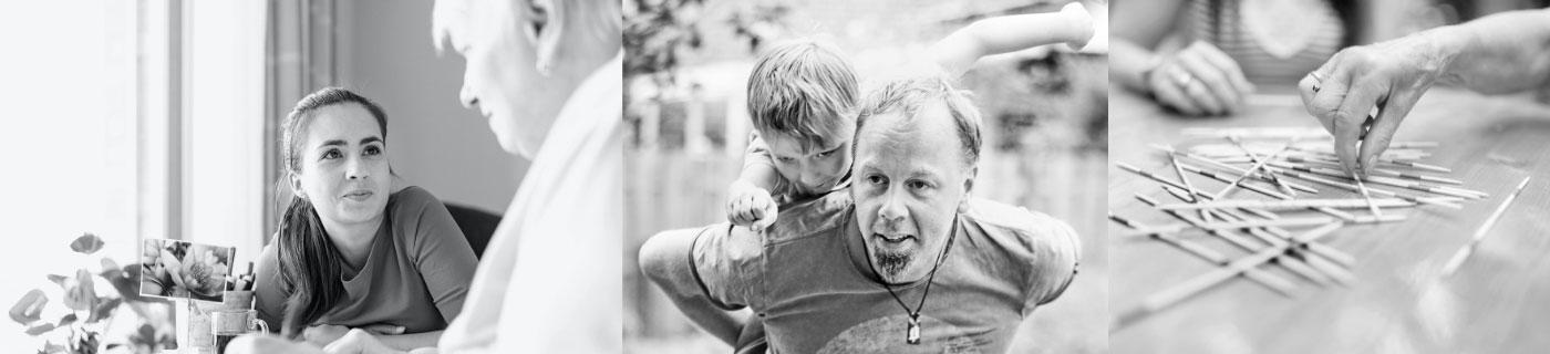 Foto: Bilderreihe mit junger Pflegerin, Sozialarbeiter und Mikadostäbchen